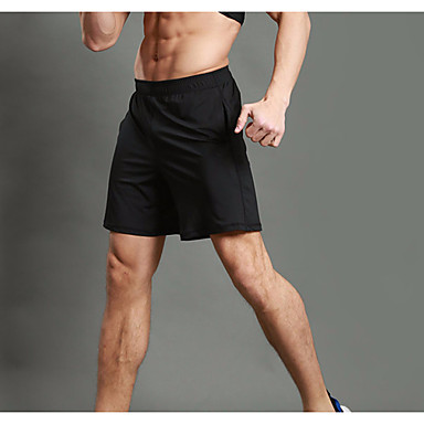 WOSAWE Herre Shorts til jogging / Splitt shorts til jogging - Svart sport Shorts Sportsklær Fitness, Løping & Yoga, Fort Tørring, Pustende