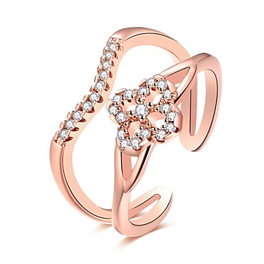 Women's Ring Cubic Zirconia Silver Rose Gold Rose Gold Zircon Copper Silver Plated Rose Gold Plated Geometric Irregular Personalized