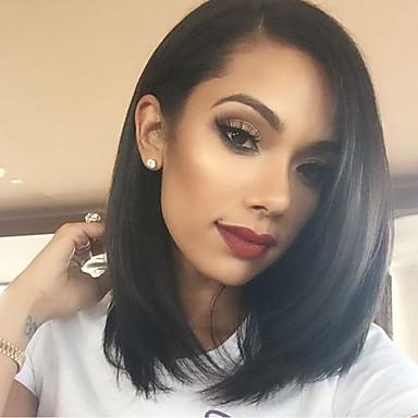 Kvinder Blondeparykker med menneskehår Ekte hår Helblonde Helblonder uten lim 150% tetthet Rett Parykk Svart Kort Medium Naturlig