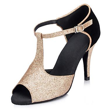 Women's Latin Glitter Sandal Performance Sparkling Glitter Stiletto Heel Gold Black 3