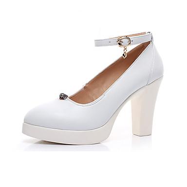 Mulheres Sapatos Couro Primavera Outono Sapatos formais Saltos Salto Robusto Dedo Apontado para Casual Escritório e Carreira Branco Preto