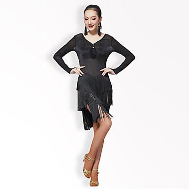 Dança Latina Vestidos Mulheres Espetáculo Tule Fibra de Leite Recortes Cor Única Mocassim Manga Longa Alto Vestido