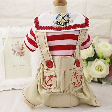 Dog Shirt / T-Shirt Jumpsuit Harness Pants Dog Clothes Stripe Red Blue Cotton Costume For Pets Men's Women's Party Casual/Daily Cowboy