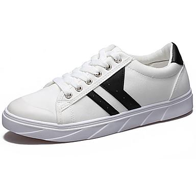 Homens sapatos Couro Ecológico Primavera Outono Conforto Tênis para Ao ar livre Branco Preto Azul