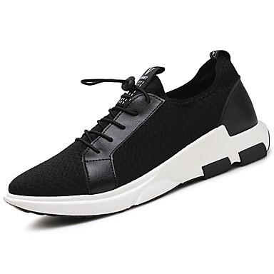 Homens sapatos Couro Ecológico Primavera Outono Conforto Tênis Caminhada Cadarço para Casual Preto