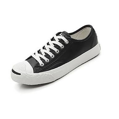 Women's Sneakers Comfort Spring PU Casual White Black Flat