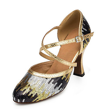 Women's Latin Paillette Synthetic Heels Professional Sequin Cuban Heel Gold Blue 2