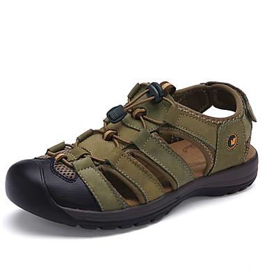 Men's Sandals Gladiator Spring Summer Suede Walking Shoes Casual Outdoor Gore Flat Heel Dark Brown Army Green Khaki Flat