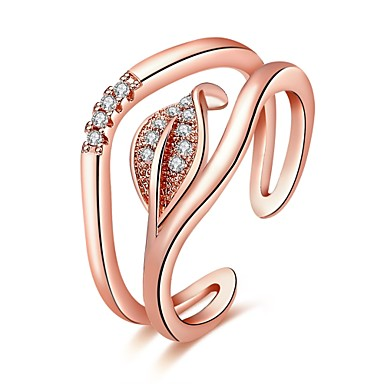 Women's Ring AAA Cubic Zirconia Silver Rose Gold Rose Gold Zircon Copper Silver Plated Geometric Line Irregular Personalized Floral