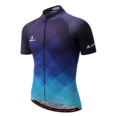 Miloto Men's Short Sleeve Cycling Jersey - Dark Blue Gradient Bike Jersey Top, Quick Dry Reflective Strips Polyester Coolmax® / Stretchy