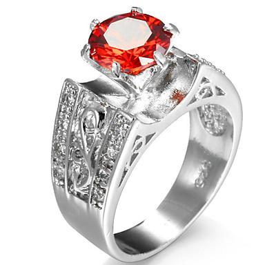 Dame Steninnfatninger Ring Band Ring Kubisk Zirkonium Personalisert Luksus Geometrisk Rundt design Unikt design Klassisk Rhinestone