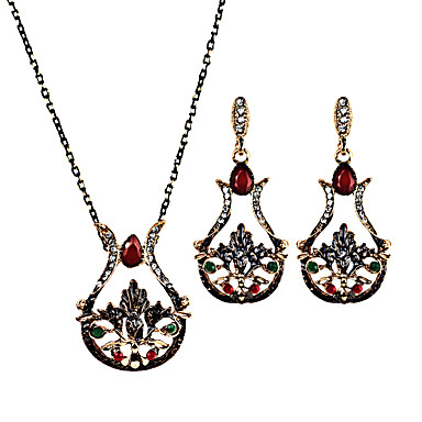 Women's Jewelry Set - Flower Personalized, Luxury, Unique Design Include Drop Earrings / Necklace Black / Red / Green For Christmas Gifts / Party / Special Occasion