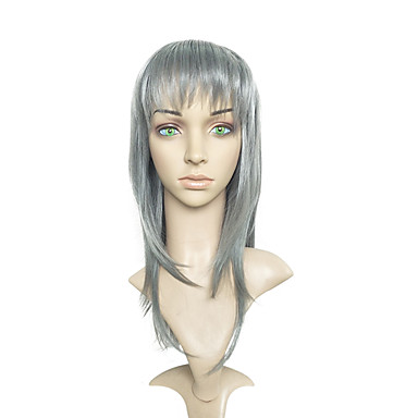 Cosplay Wigs Grey Color Synthetic Fiber Wig Long Straight Costume Wig