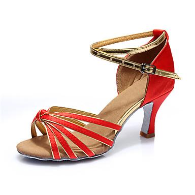 Women's Latin Silk Sandal Indoor Customized Heel Red Customizable