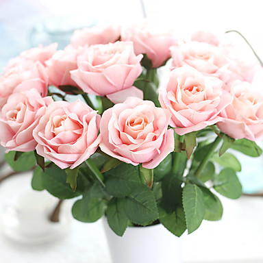 Artificial Flowers 5 Branch European Style Roses Tabletop Flower