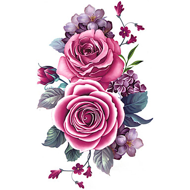Temporary Arm Body Flower Series 3D Rose Waterproof Tattoos Stickers Non Toxic Glitter Large Fake Tattoo Halloween Gift 22*15cm
