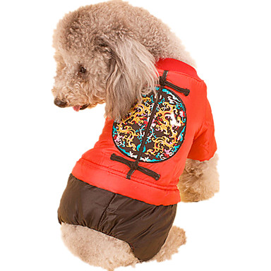 Dog Jumpsuit Dog Clothes New Year's Geometric Yellow Red Costume For Pets