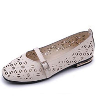 Women's Shoes PU Summer Light Soles Flats Walking Shoes Flat Heel Wedge Heel Round Toe For Casual Dress White Beige Blushing Pink
