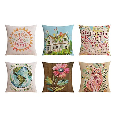 6 pcs Linen Pillow case Sofa Cushion Travel Pillow Body Pillow Bed Pillow Pillow Cover, Floral Word / Phrase Graphic Prints Traditional /