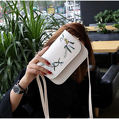 Women Shoulder Bag PU Polyester All Seasons Casual Outdoor Round Clasp Lock White Black Blushing Pink