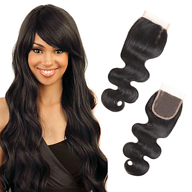 Febay 4x4 Closure Body Wave Free Part / Middle Part / 3 Part Swiss Lace Remy Human Hair Daily