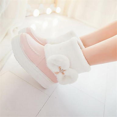 Women's Shoes PU Spring Comfort Boots Wedge Heel for Casual White Beige Pink