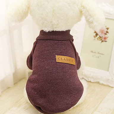 Dog Sweater Sweatshirt Dog Clothes Casual/Daily Solid Red Green Blue Pink Khaki Costume For Pets