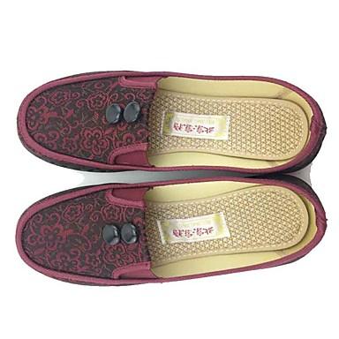 Mulheres Sapatos Tecido Primavera Outono Solados com Luzes Conforto Mocassins e Slip-Ons Caminhada Sem Salto Ponta Redonda Flor para Ao