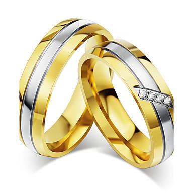 Casal Zircônia cúbica Anéis de Casal - Zircônia Cubica, Aço Titânio Vintage, Elegante 5 / 6 / 7 / 8 / 9 Dourado Para Casamento Aniversário Festa / Noivado