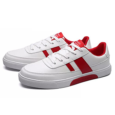 Men's Sneakers Comfort Spring Fall PU Casual Lace-up Flat Heel Black/White Red/White White/Green Flat