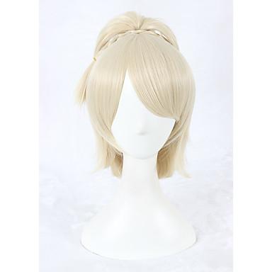 Syntetiske parykker Med hestehale Blond Dame Lokkløs Cosplay-parykk Kort Syntetisk hår