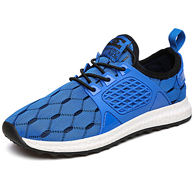 Men's Shoes Tulle Spring Summer Light Soles Comfort Sneakers Lace-up for Casual Outdoor Black Fuchsia Blue