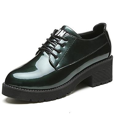 Naisten Kengät Kumi Kesä Comfort Oxford-kengät Kävely Matala korko Pyöreä kärkinen Solmittavat Vaalean harmaa / Armeijan vihreä / Burgundi