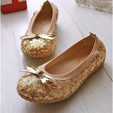 Girls' Flats Comfort Spring Summer Paillette Casual Gold Blushing Pink Flat