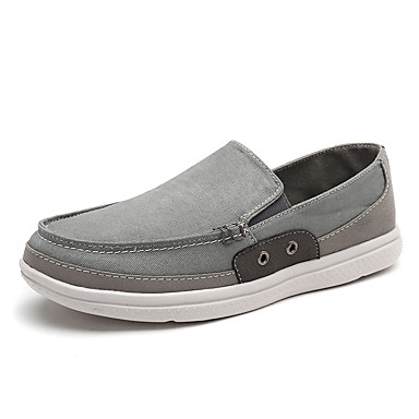Men's Shoes Linen Summer Fall Comfort Loafers & Slip-Ons Split Joint for Casual Gray Green Blue