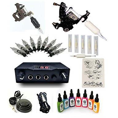 Starter Tattoo Kit 2 steel machine liner & shader Tattoo Machine LCD power supply 7 × 15ml Tattoo Ink 1 x aluminum grip