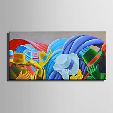 Pintura a Óleo Pintados à mão - Abstrato Retro Tela de pintura