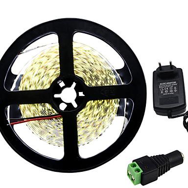 HKV 5m Faixas de Luzes LED Flexíveis 300 LEDs 3014 SMD Branco Quente / Branco Cortável / Auto-Adesivo 12 V