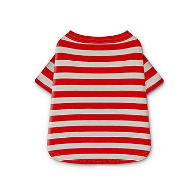 Cachorro Camiseta Roupas para Cães Riscas Amarelo / Vermelho / Azul Algodão Ocasiões Especiais Para animais de estimação Verão Homens / Mulheres Casual
