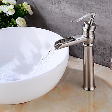 Torneira pia do banheiro - Cascata Níquel Escovado Conjunto Central Uma Abertura