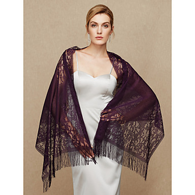 Lace Wedding Party / Evening Women's Wrap With Lace Tassel Shawls