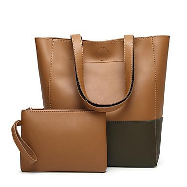 Mulheres Bolsas PU Conjuntos de saco para Casual Escritório e Carreira Todas as Estações Rosa Cinzento Marron Preto Cinzento cáqui