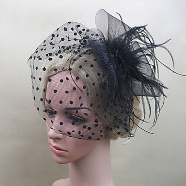 Gemstone & Crystal Tulle Plastic Fascinators Flowers Headpiece with Crystal Feather 1 Wedding Special Occasion Event / Party Party /