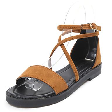 Mulheres Sapatos Pele Verão Solados com Luzes Sandálias Caminhada Sem Salto Ponta Redonda Presilha para Casual Social Preto Bege Castanho