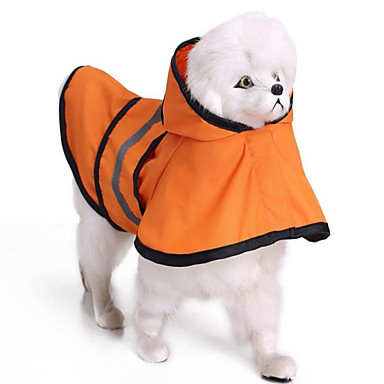 Dog Rain Coat Dog Clothes Solid Colored Orange Blue Polyester Costume For Pets Summer Men's Women's Casual / Daily
