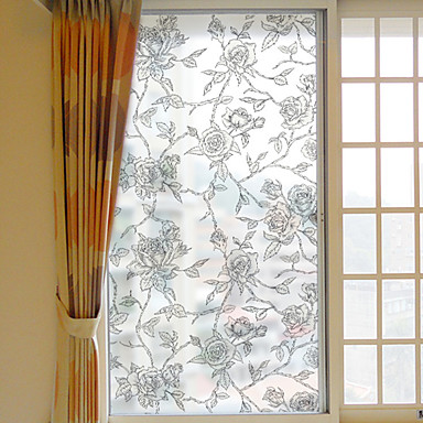 Floral Christmas Window Sticker, PVC/Vinyl Material Window Decoration Living Room