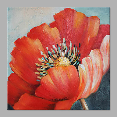 IARTS®Hand Painted Modern Abstract Bright Red Flower & Golden Color Stamens Painting On Canvas Stretched Frame Wall Art Home Decoration  Ready To Hang