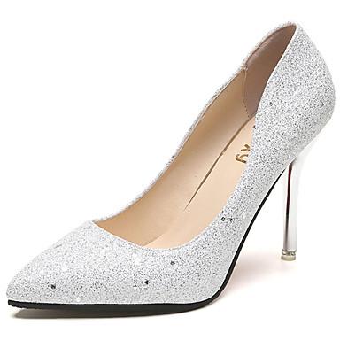 Mulheres Sapatos Borracha Verão Conforto Sandálias Caminhada Salto Agulha Dedo Apontado Presilha Preto / Prata / Champanhe