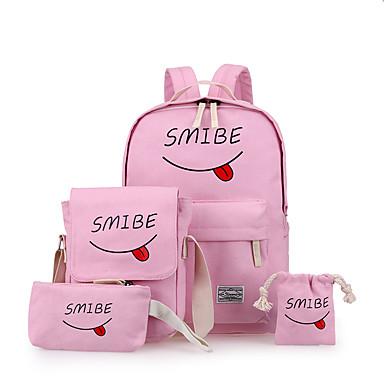 Mulheres Bolsas Lona mochila Conjunto de bolsa de 4 pcs Fru-Fru para Ao ar livre Todas as Estações Preto Rosa Azul Escuro Cinzento Amarelo