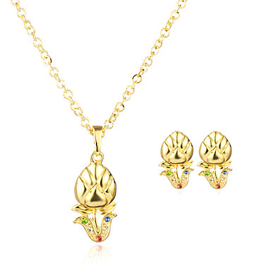 Women's Jewelry Set - Gold Plated Flower Geometric, Dangling Style, Classic Include Pendant Necklace Gold For Wedding / Party / Anniversary